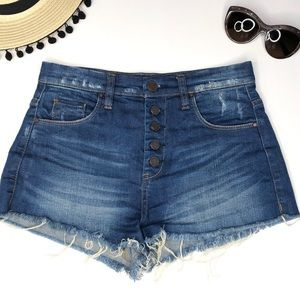 Blank NYC High Rise Button Front Jean Shorts
